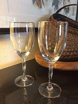 "Set of 2 Noritake ALLAIRE 8 1/2"" Gold Rim Iced Tea Glasses Goblets - Pristine"