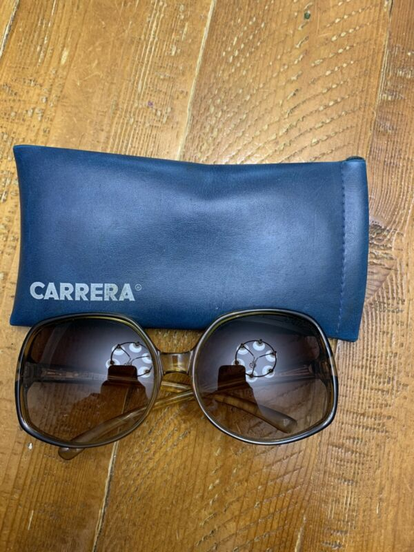 Vintage Optyl Carrera Sunglasses OVERSIZED Austria 19080's 90's Clear Brown