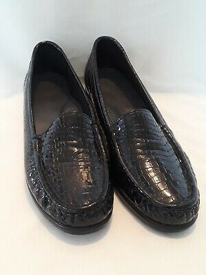 (SAS Tripad Comfort Black Croc Patent Leather Loafers Womens 8.5 N)