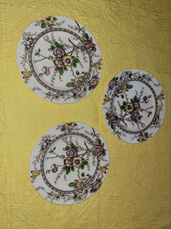 Set of 3 Alfred Meakin England Medway Decor 10 inch Brown Floral Dinner Plates