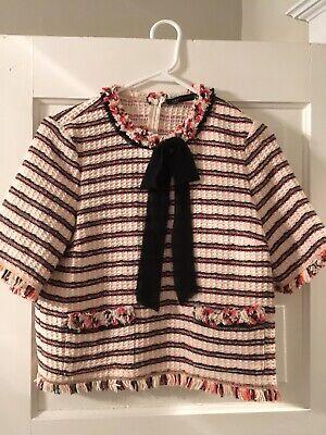 Zara Woman Woven Striped Blouse Black Tie With Pockets Size Medium