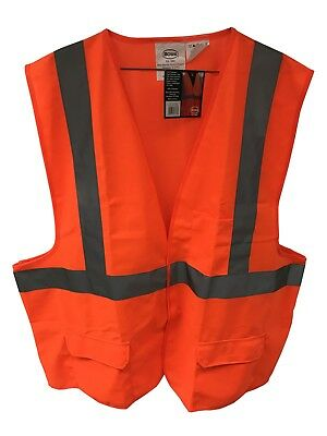 Orange Safety Vest 3 Pockets Reflective Stripe Polyester - Orange Vest