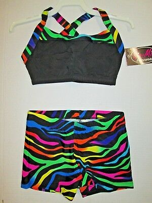 NEW Crop Bra Top Shorts Set Size LC Large Child Lot Dance Gymnastics leotard