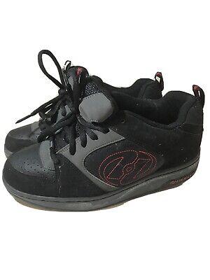 Heelys Mens Boys Skate Shoes Black Red Style #7177 Skater Double Wheeled Sz 7