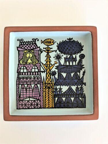 Vintage Stig Lindberg Quadractic Ceramic Dish with Town Motif