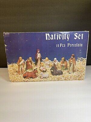 Vintage Nativity Set 11 Pcs Porcelain Hand Painted Figures
