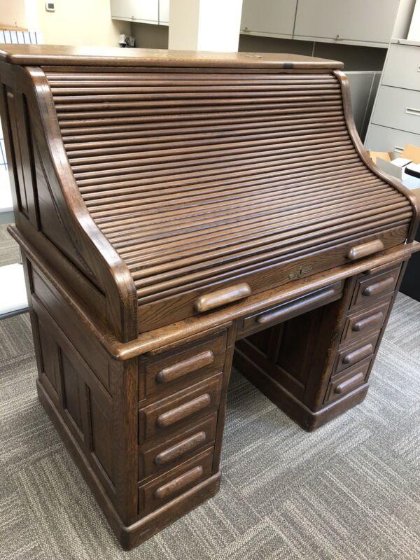 Antique Oak Roll-top Desk