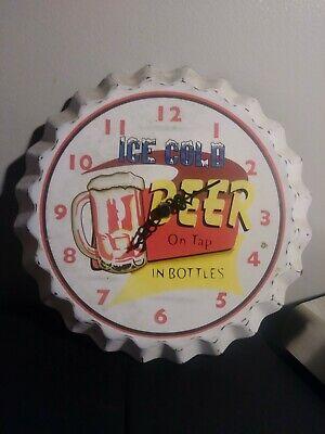 Bottle Cap Metal Wall Clock Ice Cold Beer 10.5x10.5