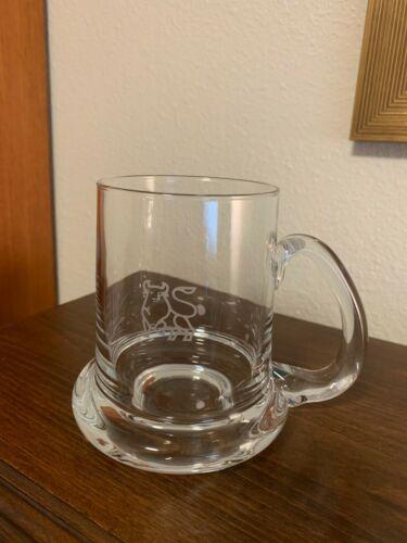 MERRILL LYNCH GLASS DRINKING STEIN BULL LOGO HEAVY