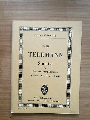 Noten. Telemann. Suite für Flöte und Streichorchester. Taschenpartitur.