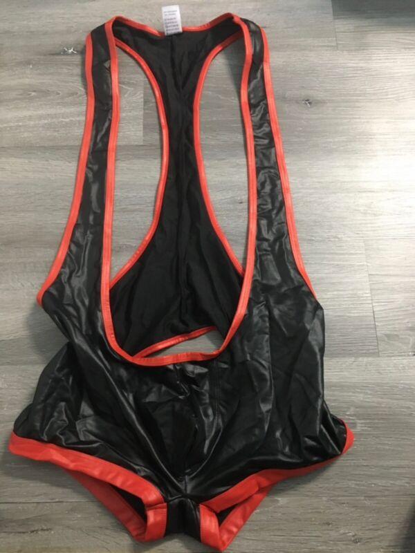 Black Unicorn Black/Red Open Ass Wrestling Singlet Size Medium