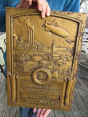 Original 1940S Goodyear Tire And Rubber Co  Sign Dealer Service Award Plaque