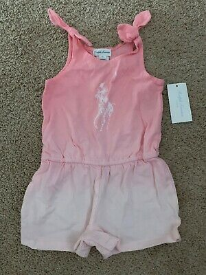 Ralph Lauren Infant Girl Short Romper One piece Pink Ombre 9 months