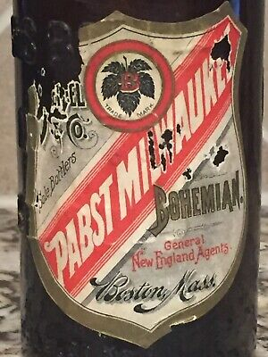PABST PRE PRO LABELED AND EMBOSSED BLOB TOP BEER BOTTLE ~ BOSTON, MASS ~