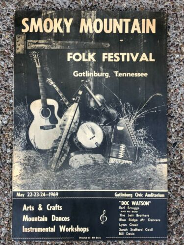 "Rare 1969 Poster Smoky Mountain Folk Bluegrass Festival 15""x22"" Doc Watson"