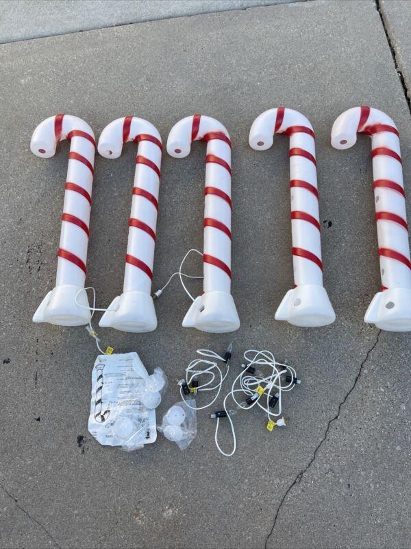 "Set Of 5 Vintage Christmas Blow Mold 32"" Candy Cane Light Up Empire Carolina Ent"