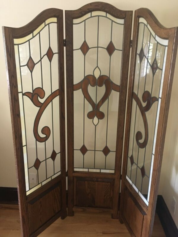 Vintage Three-panel Oak/Faux Stained Glass Room Divider Screen