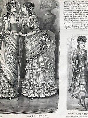 MODE ILLUSTREE SEWING PATTERN Feb 4,1883 - BRIDAL DRESS, BALL GOWNS