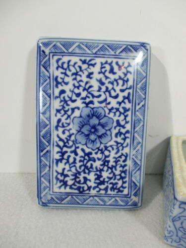 Trinket Box Ceramic Japanese Blue White Jewelry Hand Painted Floral Signed Vtg