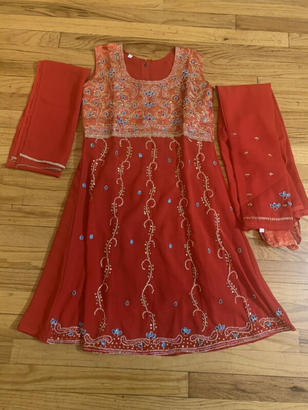Girls 3pc Stithed Embroided Shafoon Dress Siz 32