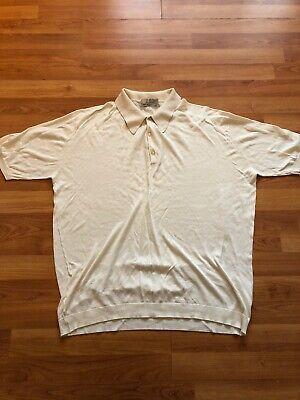 John Smedley Sea Island Cotton Men's Polo Shirt Cream Size Large L (48 Inch)