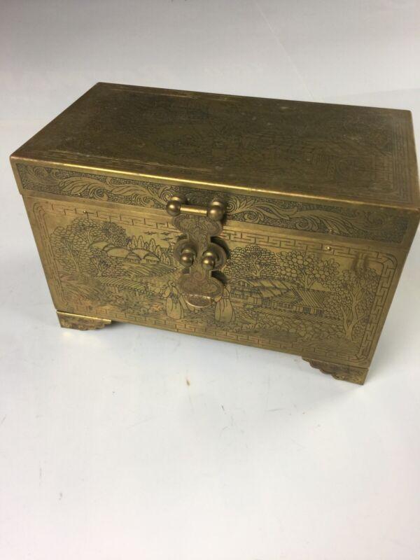 Vintage Chinese Storyteller Engraved Brass Vanity Jewelry Box