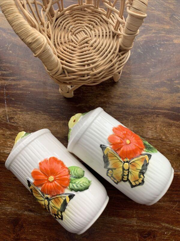 Vintage Ceramic Salt & Pepper Shakers Monarch Butterfly Orange & Yellow Flowers