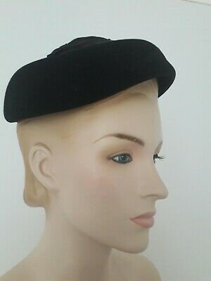 VINTAGE 50S CHIC HEPBURN HITCHCOCK HEROINE BLACK WOOL PILLBOX BERET FORMAL HAT S