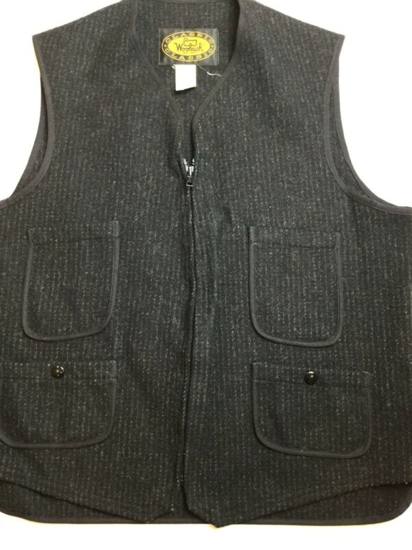 Woolrich 100% Wool Vest Zip Black Gray 42