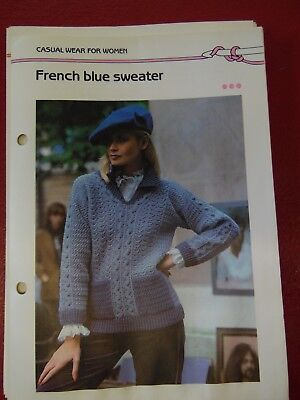 Women's French Blue Sweater crochet PATTERN INSTRUCTIONS FREE SHIPPING