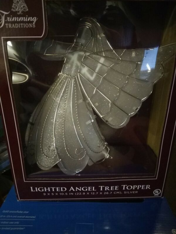 """BEAUTIFUL TRIMMING TRADITIONS SPARKLING SILVER LIGHTED ANGEL TREE TOPPER 9""""X10.5"""