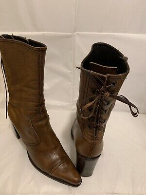 MIU MIU BY PRADA BROWN LEATHER ANKLE BOOTS LACE BACK SIDE ZIPPER ITALY SZ 38