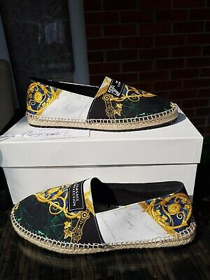 Versace Collection Espadrilles Slip On Canvas Loafers Shoes size 7 ref52P20
