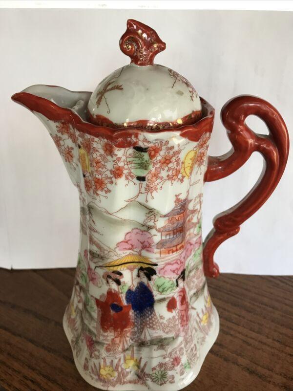 """Vintage - Oriental -Tall - Hand Painted Coffee/Tea Pot - Lidded (9-1/2"""" tall)"""