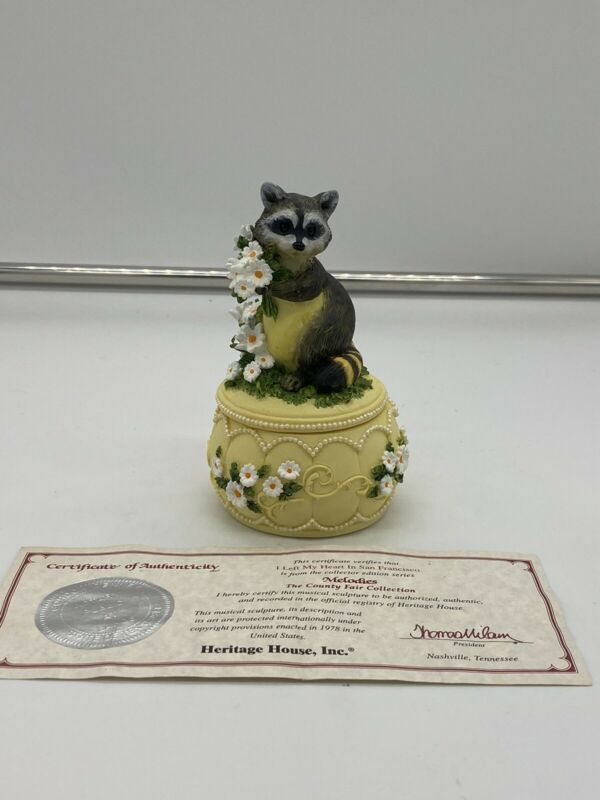 Melodies County Fair Collection Raccoon Trinket Music Box + Certificate of Auth.