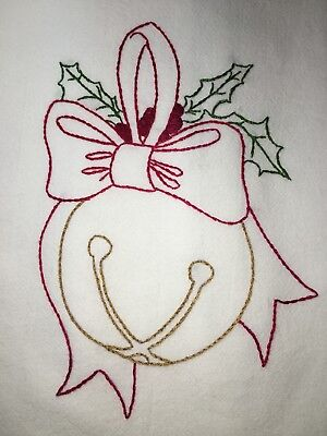 JINGLE BELL ORNAMENT- NEW Hand embroidered 18 X 25 flour sack dish towel