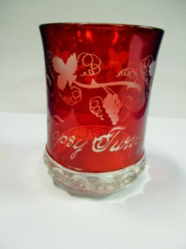 VICTORIAN RUBY STAINED SOUVENIR TUMBLER TOPSY TURVEY GRAPE VINES
