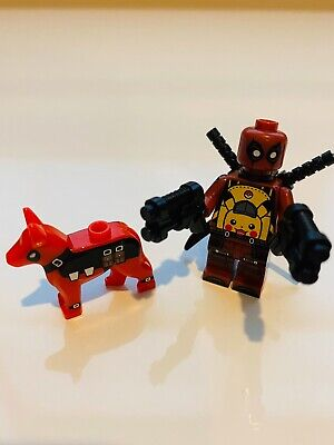 Deadpool Custom Lego Minifigure with Pikachu Backpack, Dog and 4 weapons