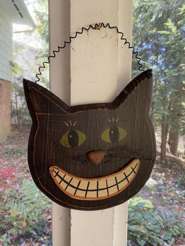Wood Halloween Black Cat Face Wall Plaque Primitive Folk Art Style