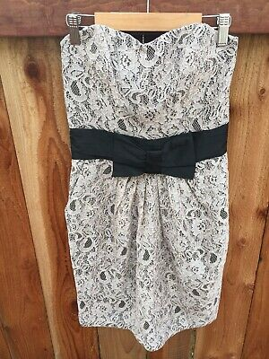 H&M NWT Lace Dress US 6 Sleeveless Tube Ivory Black Bow Pockets Party Cocktail