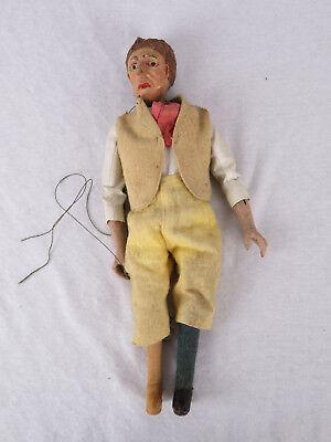 Seltene Marionette Mann mit Weste/ Holz geschnitzt farblich gefasst Mitte 19. Jh