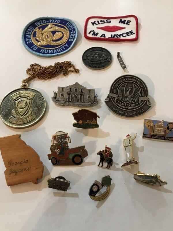 Lot 15 Vintage Jaycees Senate PIns, Patches.