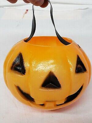 "Vtg 1970 1980 Halloween Trick Or Treat Bucket Pail Bayshore 6"" Pumpkin blow mold"