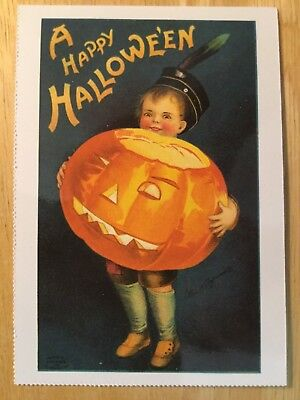 POSTCARD UNUSED HALLOWEEN -A HAPPY HALLOWEEN (EARLY 20th CENTURY REPRO) - Early Century Halloween