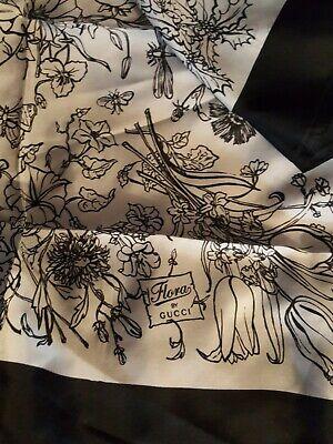 Vintage GUCCI Flora Tuberose Print 100% SILK Scarf NEW