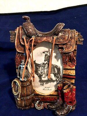 """Western Saddle Boots Fringe Polyresin Standing Desk Photo Frame 4 x 6"""""""