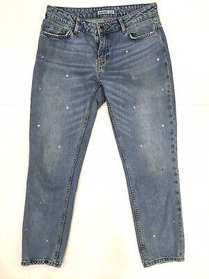 Zara Basic Ladies Studded Skinny Jeans Light Blue Size 4 Blue Stud Skinny Jean