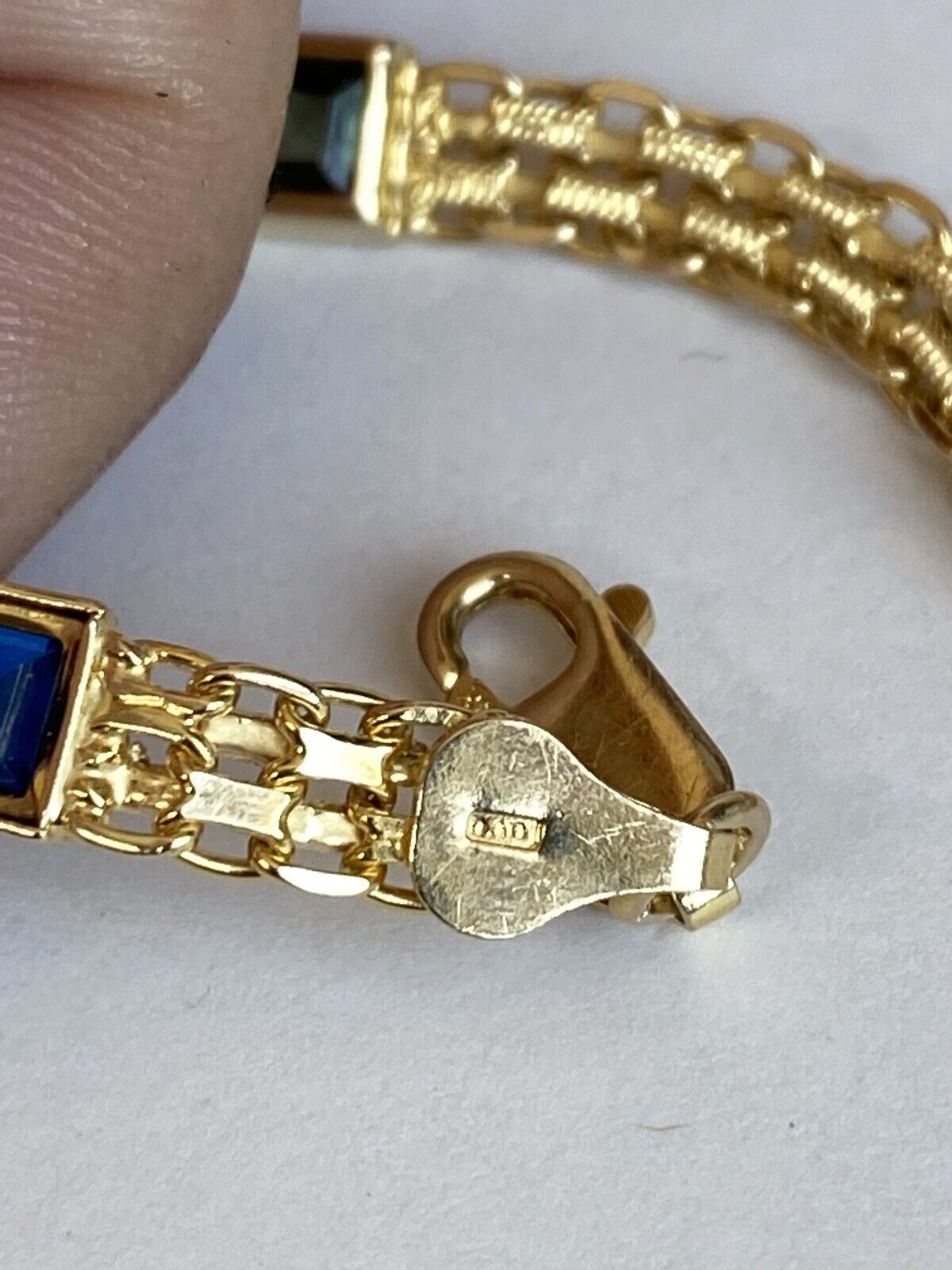 14k Yellow Gold w/ Colored Stones Women's Bracelet 6.3mm  7 1/4 Inches PRETTY!!! 10