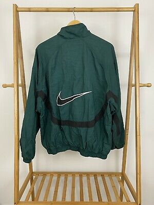VTG Nike 90s Men's Big Swoosh Full Zip Track Windbreaker Jacket Size L