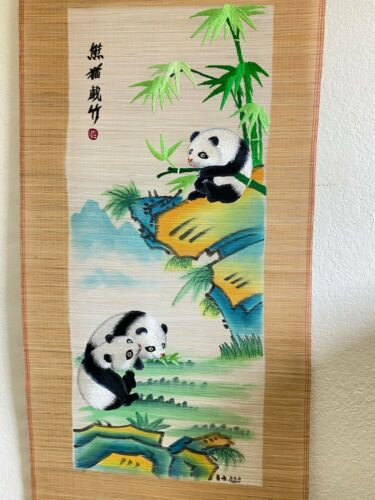 Ancient silk embroidery PANDA Painted Bamboo Hanging Scrolls Artist Signed Decor